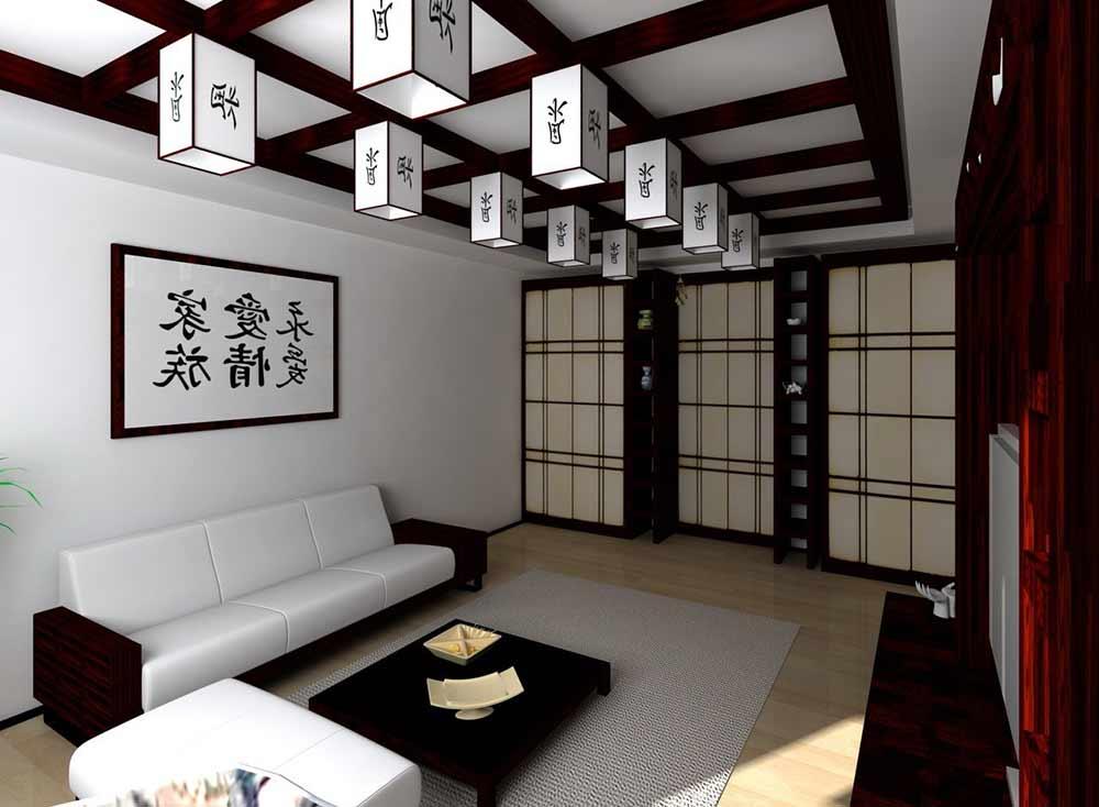 дизайн гостинной в японском стиле