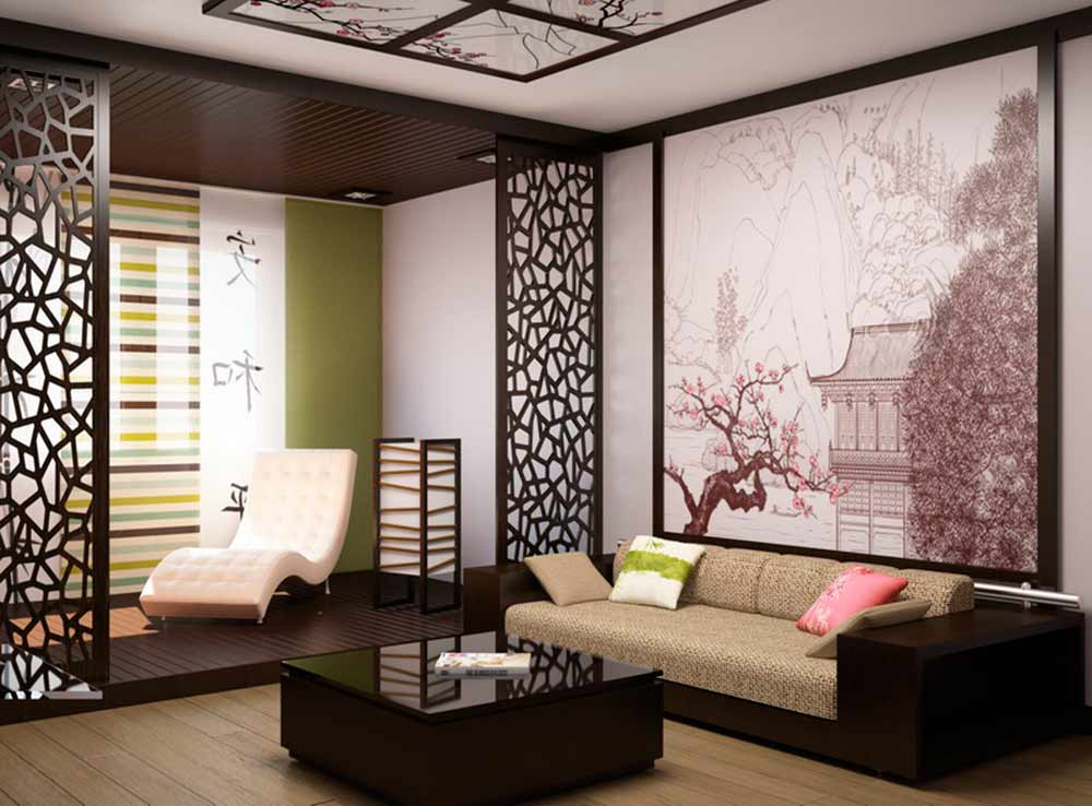 Потолки в японском стиле фото